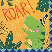 Serviettes en papier 'dinosaures', 33 x 33 cm, 16 pièces