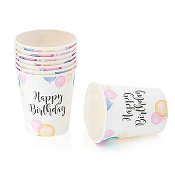 Gobelets en carton 'Happy Birthday', 8 pièces