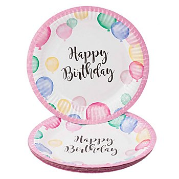 Pappteller 'Happy Birthday', 8 Stück