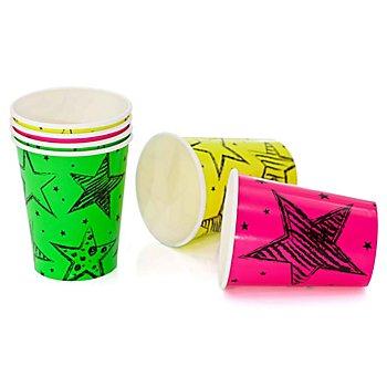 Gobelets en carton 'fête néon', 6 pièces