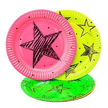 Pappteller 'Neon-Party', 6 Stück