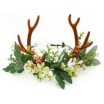Serre-tête cerf 'feuilles et fleurs'