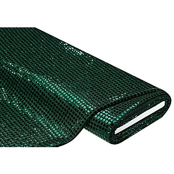 Paillettenstoff 'Gloss', dunkelgrün, 6 mm Ø, 135 cm breit