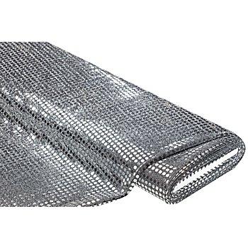 Tissu à paillettes scintillantes, argenté, 6 mm Ø, 140 cm de large