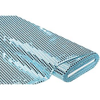 Tissu à paillettes scintillantes, bleu glacier, 6 mm Ø, 100 cm de large