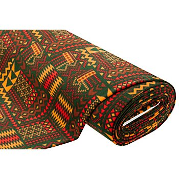 Tissu polaire 'Mexique', vert foncé/rouge