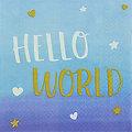 """Servietten """"Hello World"""" in Blau"""