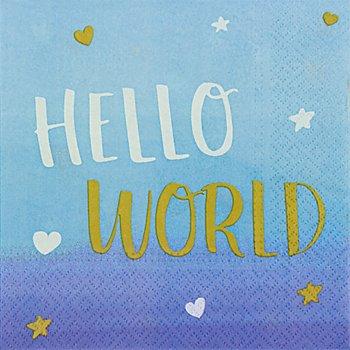 Servietten 'Hello World' in Blau