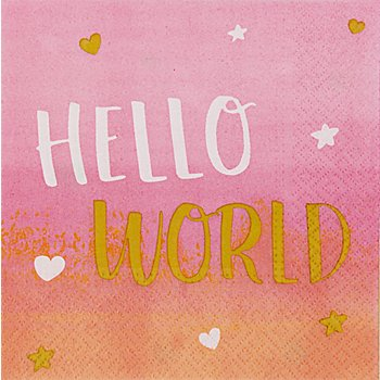 Servietten 'Hello World' in Rosa