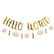 Girlanden-Set 'Hello World' in Rosa