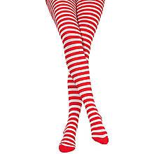 Ringelstrumpfhose, rot/weiß