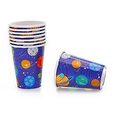 Gobelets en carton 'planètes', 250 ml, 8 pièces
