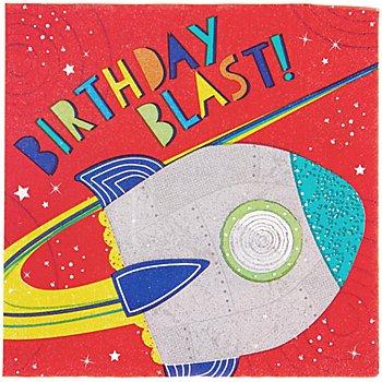 Servietten 'Weltraum' mit Geburtstagsrakete, 16 Stück
