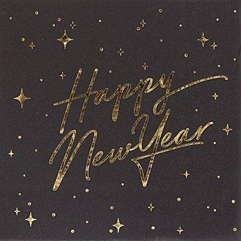 Serviettes en papier 'Nouvel An', doré métallisé, 33 x 33 cm, 20 pièces
