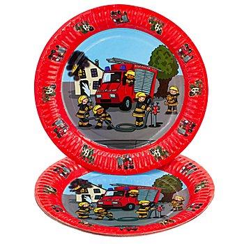 Pappteller 'Feuerwehr', 23 cm Ø, 8 Stück