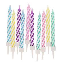 Kerzen mit Halterung 'pastell', 10 Stück