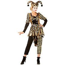 Kostüm 'Harlequina', schwarz/gold