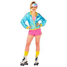 Kostüm 80er-Jahre-Girl, türkis/pink