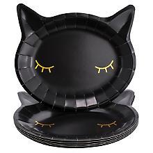 Pappteller 'Grusel-Katze', 22 x 20 cm, 6 Stück
