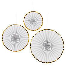 Rosaces éventails en papier 'glamour', blanc, 3 pièces