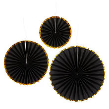 Papierfächer 'Glamour', schwarz, 3 Stück