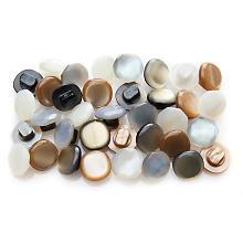 buttinette Boutons avec œillets, crème/argent/vert/beige, 11 mm Ø, 40 pièces