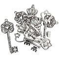 """Set pendentifs """"clés"""", argenté, 45 - 49 mm, 6 pièces"""