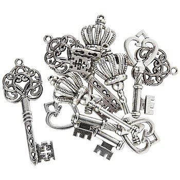 Set pendentifs 'clés', argenté, 45 - 49 mm, 6 pièces