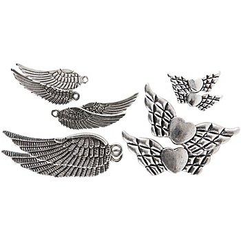Flügelset, silber, 20–45 mm, 10 Stück