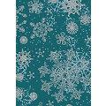 """Papier Décopatch """"flocons de neige"""", turquoise/argent, 39 x 30 cm, 3 feuilles"""