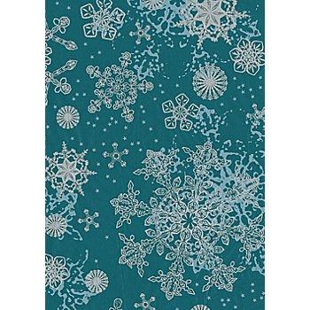 Papier Décopatch 'flocons de neige', turquoise/argent, 39 x 30 cm, 3 feuilles