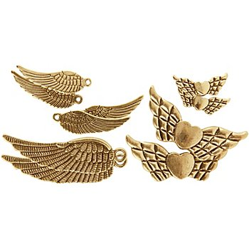 Flügelset, gold, 20–45 mm, 10 Stück