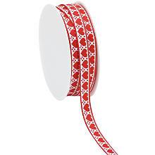 Webband 'Herzen', rot-weiß, 10 mm, 3 m