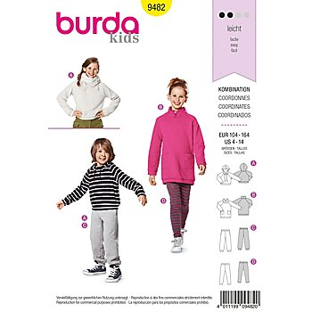 burda Schnitt 9482 'Freizeitanzug' für Kinder