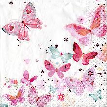Papierserviette 'Schmetterlinge', 33 x 33 cm, 20 Stück