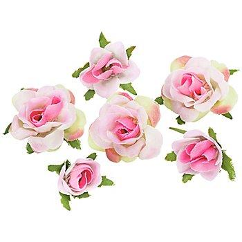 Boutons de rose artificiels, rose, 1 - 2,5 cm Ø, 27 pièces