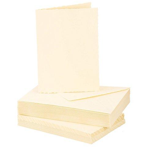 Image of Büttenrandkarten & Hüllen, creme, A6 / C6, je 25 Stück