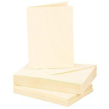 Büttenrandkarten & Hüllen, creme, A6 / C6, je 25 Stück