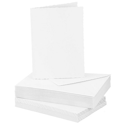 Image of Büttenrandkarten & Hüllen, weiss, A6 / C6, je 25 Stück