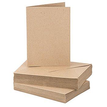 Recyclingkarten-Set, A6 / C6, braun, je 25 Stück