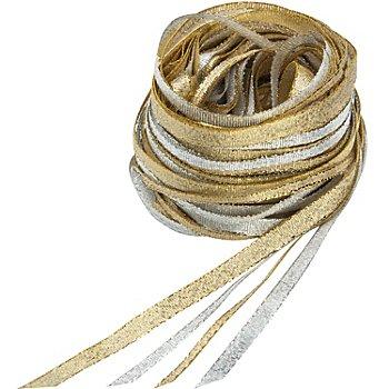Bänderpaket, gold-silber, 3–5 mm, 4x 5 m