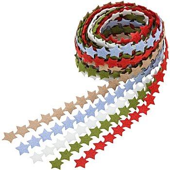 Bänderpaket 'Filzsterne', 12 mm, 5x 2 m