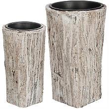 Übertöpfe aus Baumrinde, 55 cm und 45 cm, 2 Stück