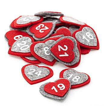 Adventskalender-Zahlen 'Herzen'