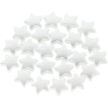 Perles 'étoiles', blanc, 1,5 cm, 24 pièces
