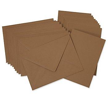 Doppelkarten & Hüllen, braun, A6 / C6, je 10 Stück