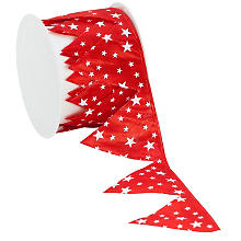 Stoffband Ziehstern 'Sterne', rot-weiss, 5 cm, 2,5 m