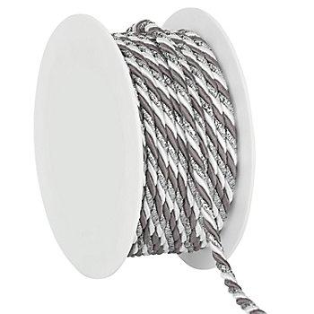 Kordel, weiß-grau-silber, 4 mm, 10 m