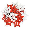 """Adventskalender-Zahlen """"Sterne"""" aus Holz, rot-weiß, 2,5 cm"""