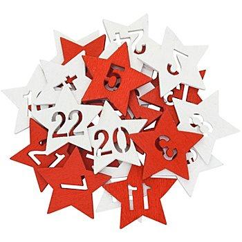 Adventskalender-Zahlen 'Sterne', rot-weiß, 2,5 cm, 24 Stück